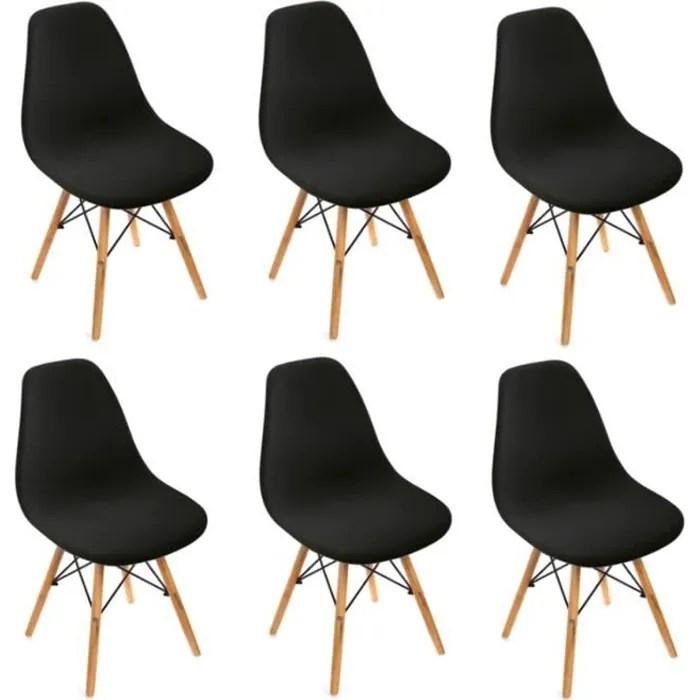 lot de 6 chaises design scandinave noir