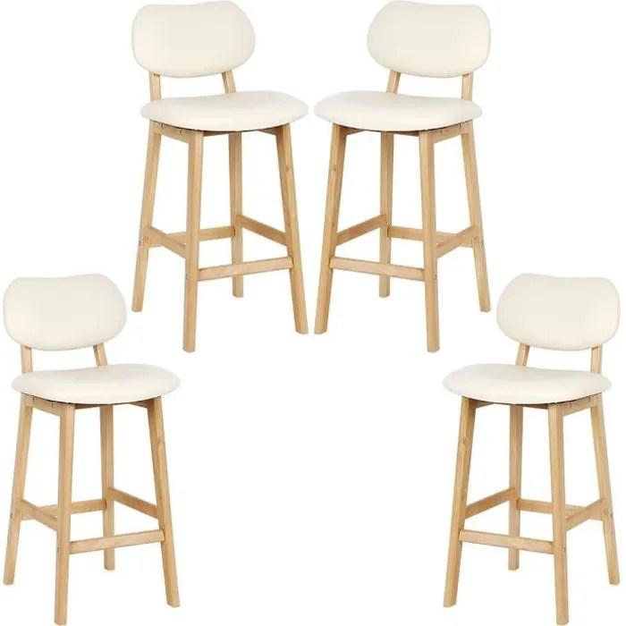 larathy lot de 4 tabouret de bar lot de 4 tabouret de cuisine design en cuir artificiel et bois beige