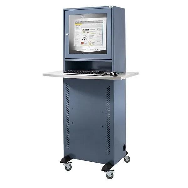 quipo armoire pour ordinateur avec plateau en melamine gris bleu armoire informatique armoire pour ordinateur armoires