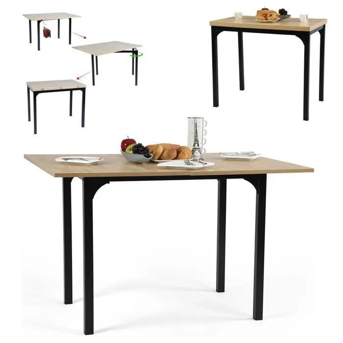 furnish1 table a manger extensible table de cuisine console style industriel deco chene clair pieds metal noir tableau uniquement