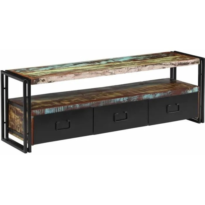 meuble tv industriel 3 tiroirs 1 etagere bois de recuperation massif table de salon casier 120 x 30 x 40 cm