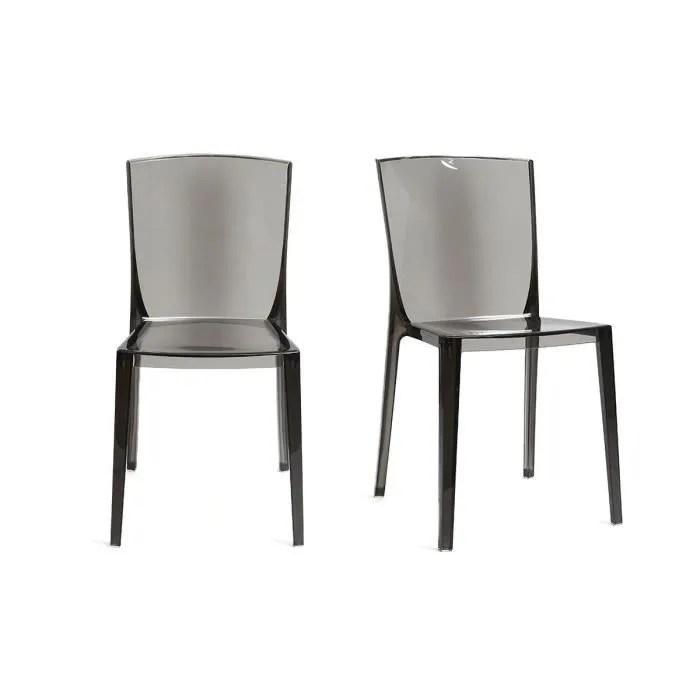 miliboo chaises design fumee transparentes empilables lot de 2 island