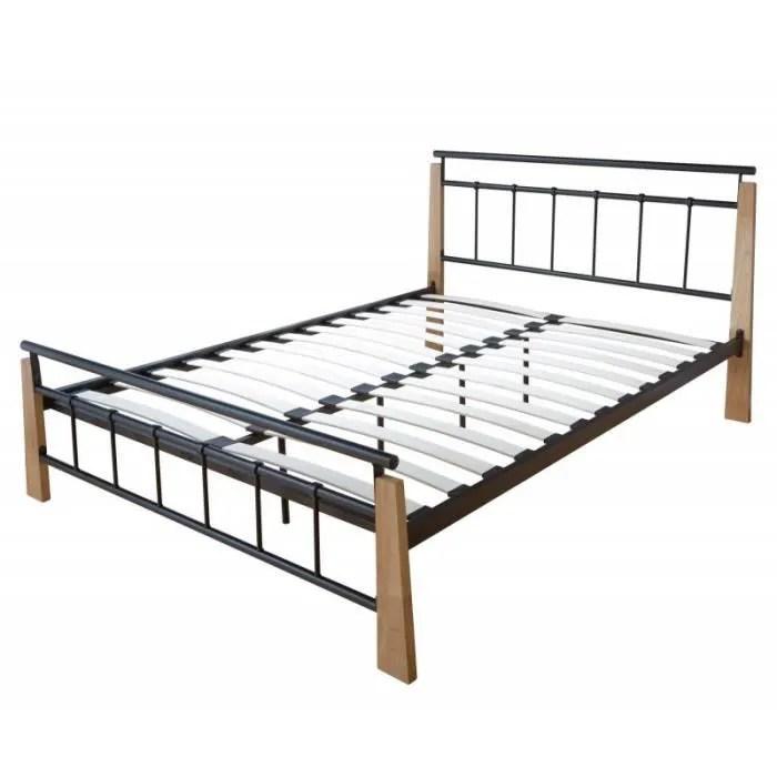 lit adulte 2 personnes en metal noir et bois brun clair 180 x 200cm avec sommier a lattes lit06064