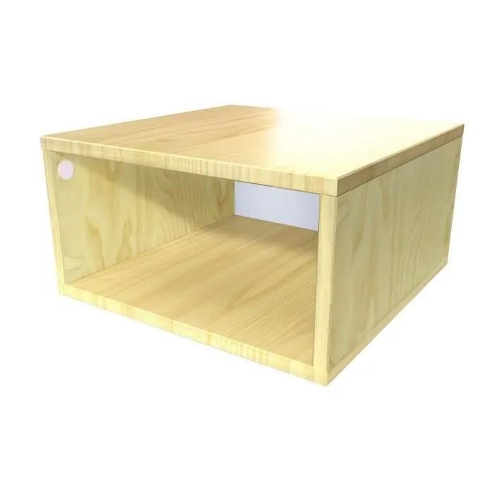 cube de rangement bois largeur 50 cm couleur miel dimensions 50x50
