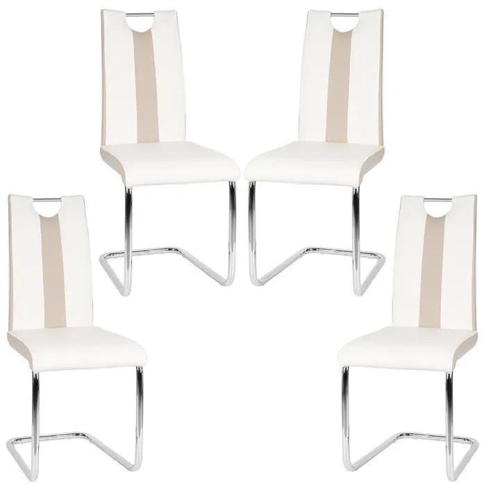 mixmest lot de 4 chaise de salle a manger blanc et beige coussin en pu pieds en acier inoxydable