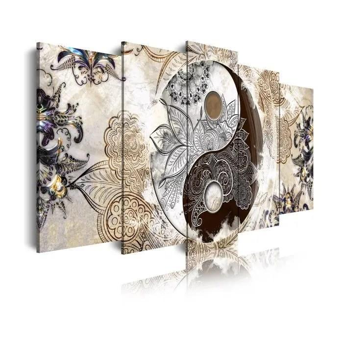 Dekoarte Impression Sur Toile Moderne Decoration Pour Le Salon Ou Chambre Ying Yang Zen Beige Marron 5 Pieces 200 X 100 Cm Cdiscount Maison
