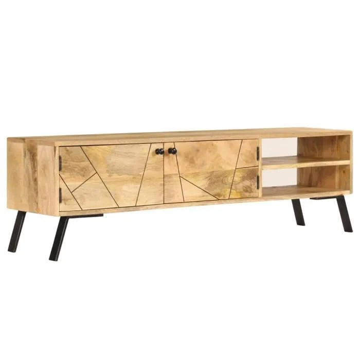 meuble bas tv scandinave banc television table de salon bois de manguier massif 140 x 30 x 40 cm