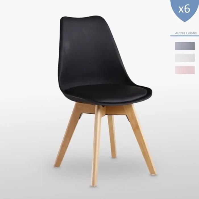 lot de 6 chaises lorenzo style scandinave noires
