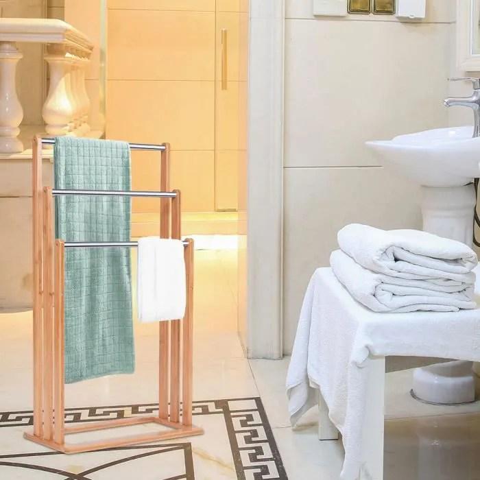 porte serviette en bois de bambou 3 barres salle de bain sechage valet serviteur echelle pour serviettes 46x24x84cm lxlxh