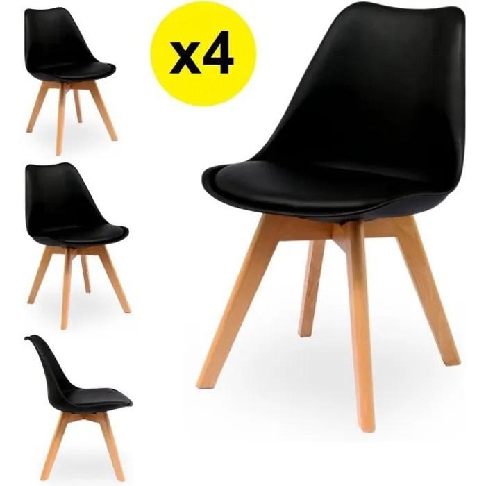 lot de 4 chaises scandinaves coloris noir skagen