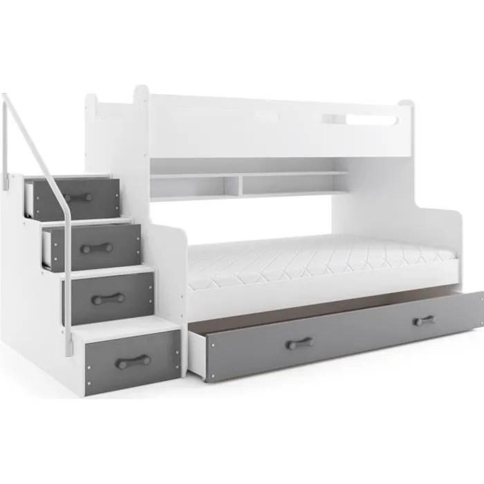 lit 3 places max 3 200x80 et 200x120 avec matelas sommier tiroir et escalier en blanc gris