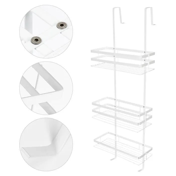 80 x 30 cm etagere salle de bains blanc etagere de douche a suspendre avec 3 tablettes