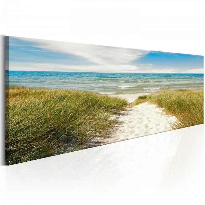 mesure 150x50 magnifique tableau paysage mer plage herbe vagues ciel sable paysage nature eau