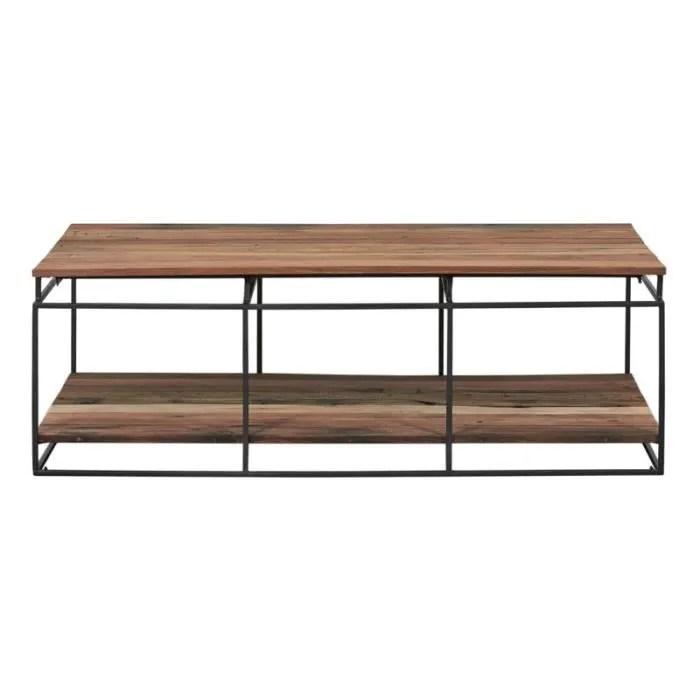 table basse fer bois