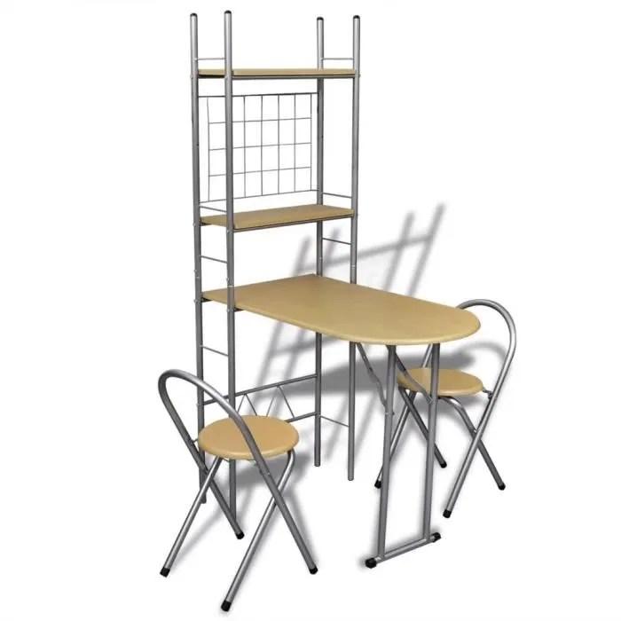 jeu de bar petit dejeuner pliable avec 2 chaises e