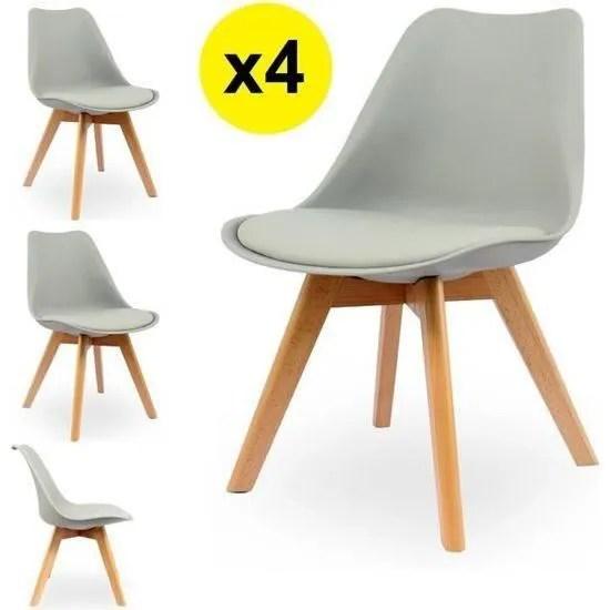 lot de 4 chaises scandinaves coloris gris clair skagen style scandinave la tendance ultime caracteristiques coque assise et