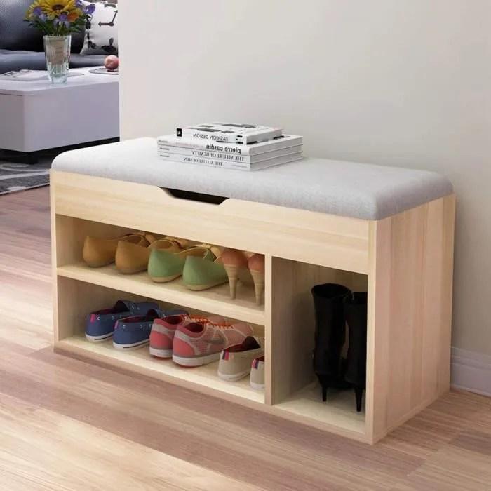 soges meuble de rangement banc de rangement pour chaussures gris capacite jusqu a 8 paires de chaussures gris
