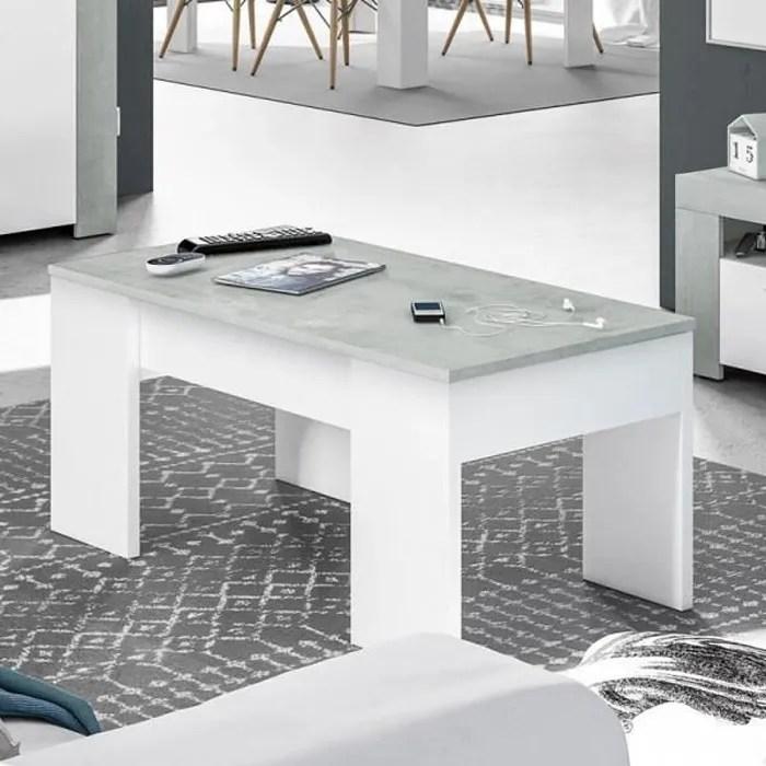 table basse relevable blanc beton cire clair oxnard blanc bois l 100 x l 50 x h 45 cm table basse