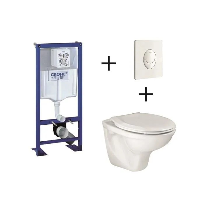 Pack Complet Wc Suspendu Grohe Bati Support 113 Cm Plaque Blanche Cuvette Lyra Abattant Cdiscount Bricolage