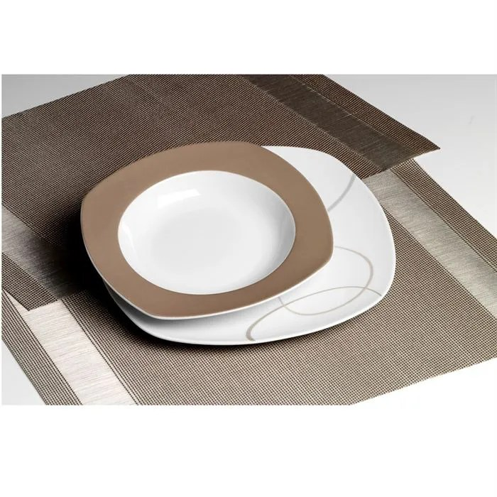 set 18 pieces porcelaine alinea marron