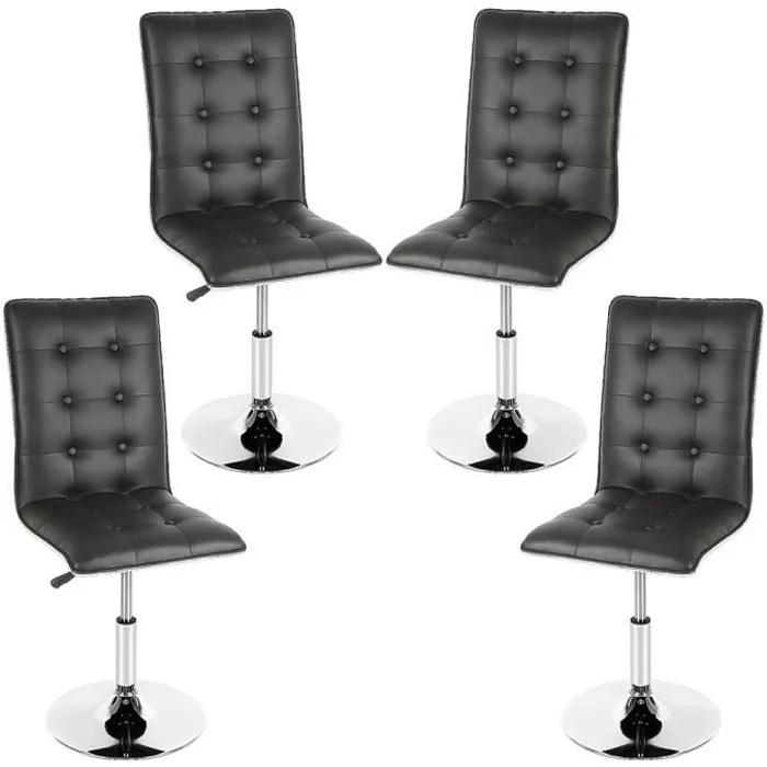 lot de 4 chaises de salle a manger chaises de salon en simili cuir en pieds metal usage domestique restaurants noir