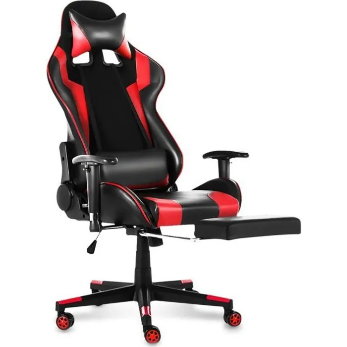 fauteuil bureau rouge et noir