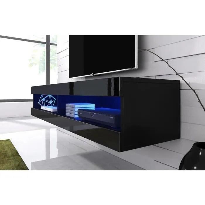 meuble tv suspendu noir mat facade laque avec led