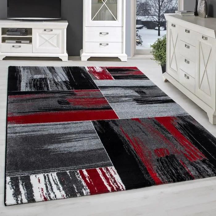 utal tapis salon gris rouge