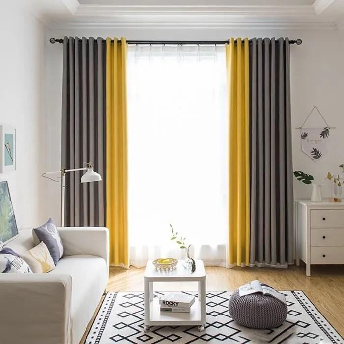 rideau jaune gris
