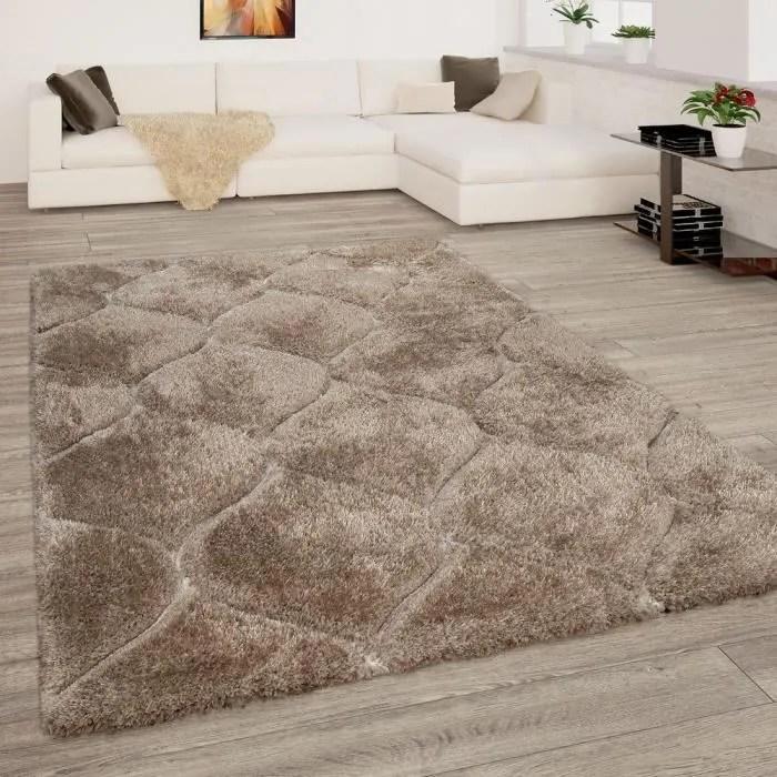 tapis de salon beige brun poils longs shaggy doux