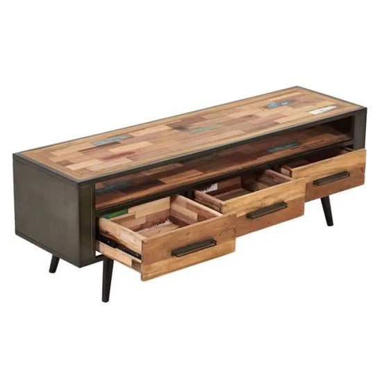 meuble tv en bois 3 tiroirs 1 niche
