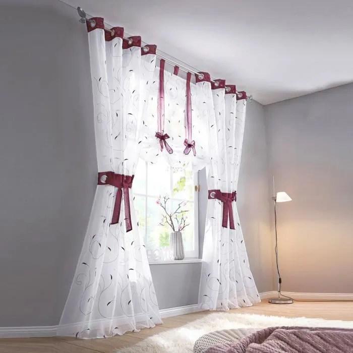 1pc rideau voilage a oeillets lxh 140x145cm baie avec embrasses broderies feuilles decoration de fenetre chambre salon balcon