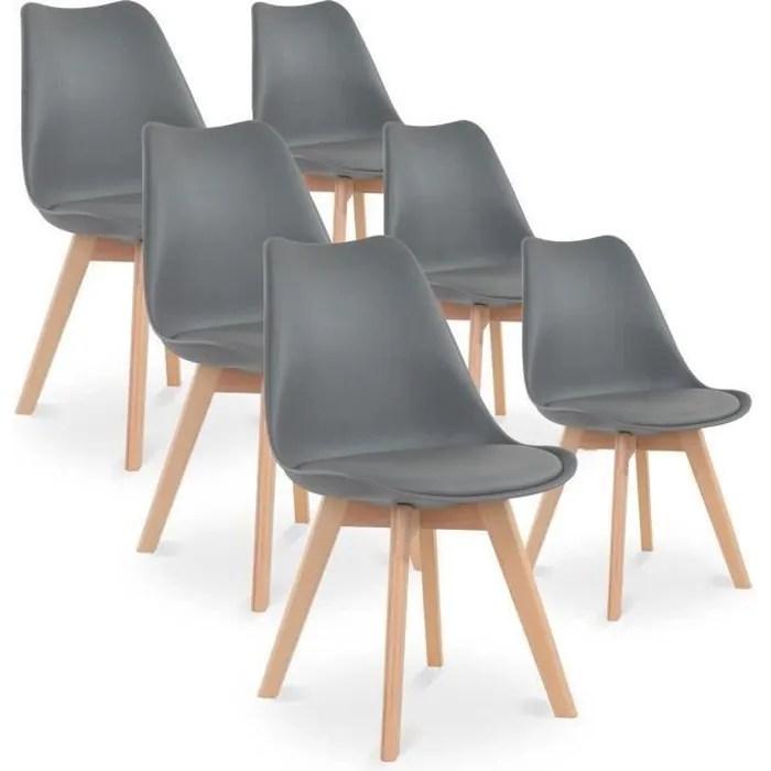 lot de 6 chaises pied bois