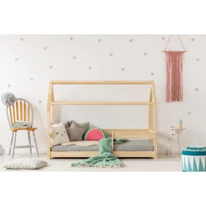 lit enfant 120 x 190 cm avec sommier type cabane en bois naturel modele mmb