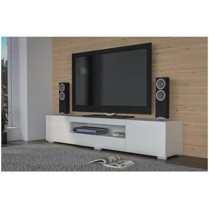 elba meuble bas tv contemporain 200x40x36 salon sejour niche 3 portes rangement moderne materiel tele audio video gaming