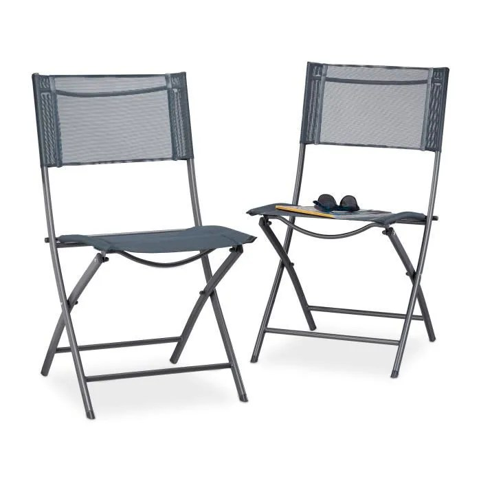 relaxdays chaise de jardin lot de 2 pliable plastique et metal chaise balcon pliante camping terrasse wave hxlxp 87 x 55 x 48 5