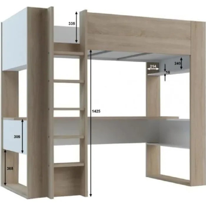 lit mezzanine noah avec bureau et rangements integres 90x200cm