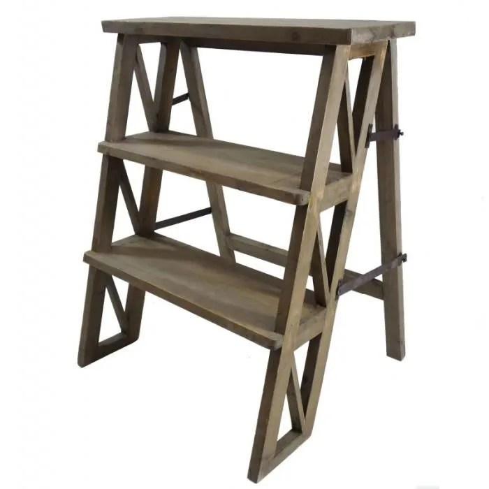 etagere meuble escalier escabeau pliable porte plantes bibliotheque a 3 etages en bois 45x59x72cm
