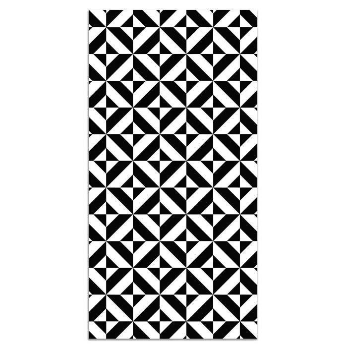 panorama tapis du sol vinyle geometrie noir 80x250