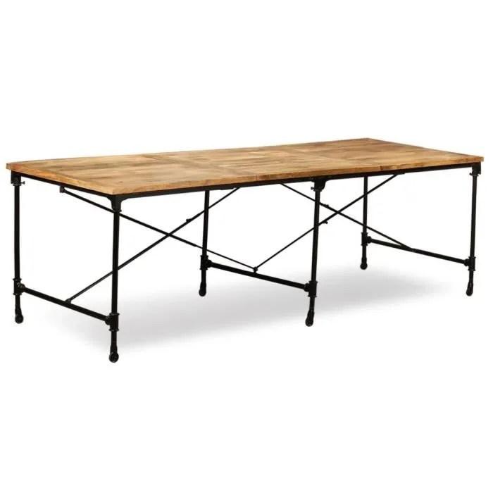 table a manger 8 a 10 personnes 240 cm style industriel table bois de manguier massif