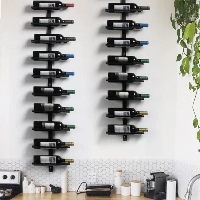 yaheetech porte bouteille mural metalique casier etagere a vin pour 10 bouteilles cave resto maison 126cm noir