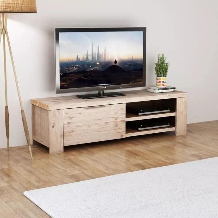 meuble tv contemporain meuble salon banc tv bois d acacia massif brosse 140 x 38 x 40 cm