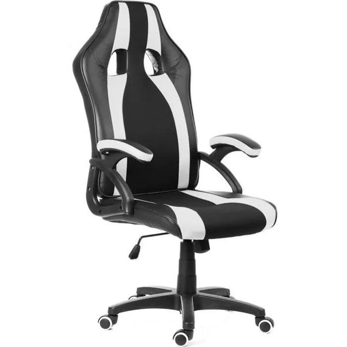 tempsa chaise de bureau fauteuil siege racing sport hauteur reglable noir et blanc