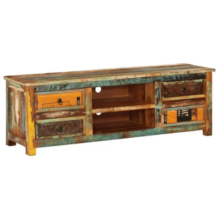 meuble tv vintage multicolore 4 tiroirs
