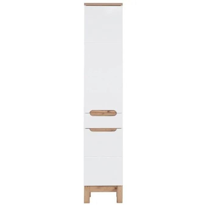 colonne salle de bain colonne a tiroir jakarta 187 cm blanc 1 tiroir 5 compartiments fermes style scandinave