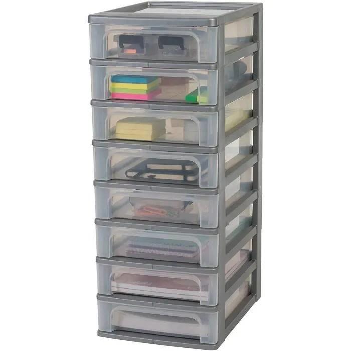 iris ohyama tour de rangement 8 tiroirs organizer chest och 2080 plastique argent transparent 60 l 26 x 35 5 x 65 5 cm