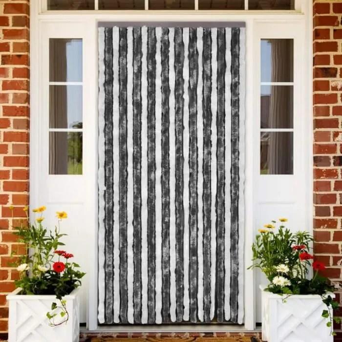 rideau de porte chenille gris et blanc 90 x 220 cm