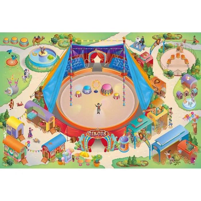 tapis enfant jeu circuit connecte cirque multicolo