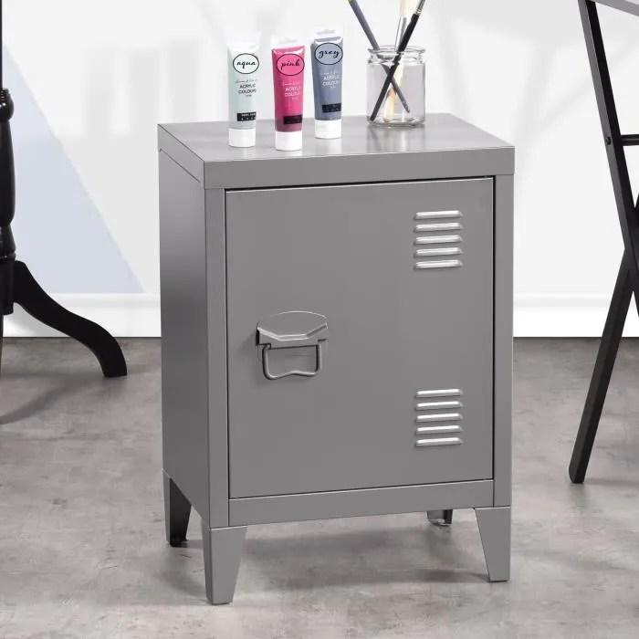 meuble bas caisson metal casier 1 porte gris