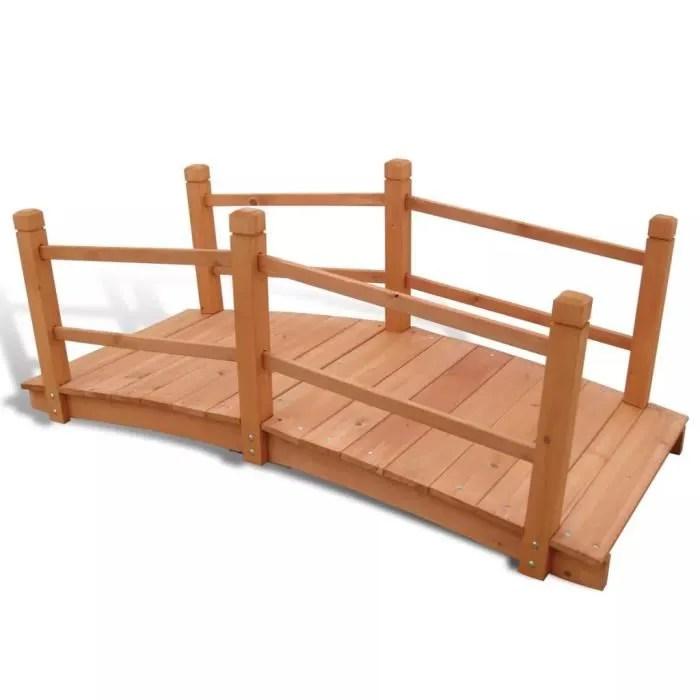 jardin en bois massif 140x60x56cm pont